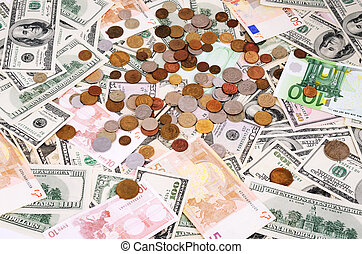banknotes and coins of different countries