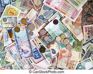banknotes and coins of different national currencies