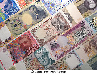 background composed with a medley of banknotes from various countries.