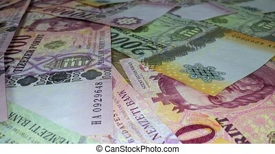 Pile of banknotes as a background (hungarian forint, 20000 10000 5000), camera sliding back