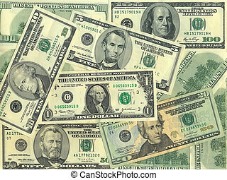Banknotes - Background of the bills of $ 1, 5, 10, 20, 50, ...