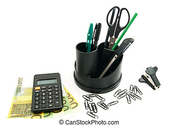 banknotes, black calculator and other office stationery