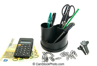 banknotes, calculator and other office stationery