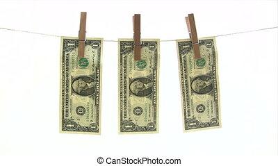 banknotes, clothesline