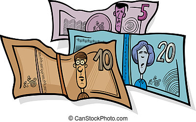 banknotes currency cartoon illustration