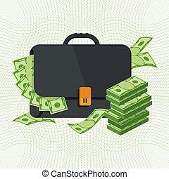 banknotes, czarnoskóry briefcase