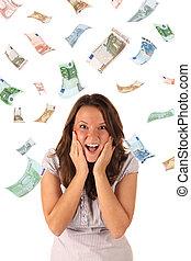 banknotes), dinheiro, chuva, (euro