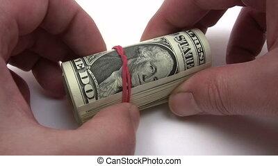 banknotes, dolar, ewidencja, jeden