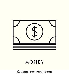 banknotes, dolar, ikona