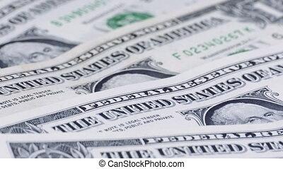banknotes, dolary, dolar, wartość, 1, amerykanka, obracać