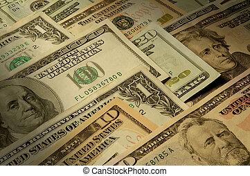 banknotes, dollár, különféle, denominations, belétek. s.