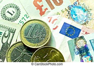 Banknotes: dollar, euro, british pound sterling, euro cents.