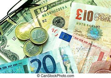 Banknotes: dollar, euro, british po
