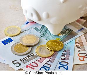 banknotes euro, og, mønter, hos, piggy bank