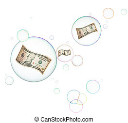 economic bubble - banknotes in bubbles on white background,...