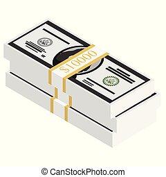 banknotes, isometric, dolar