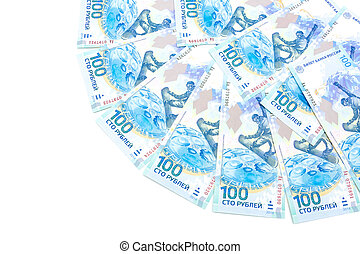 banknotes issued 100 Russian rubles for the Olympics in Sochi in 2014 on a white background. horizontal photo.