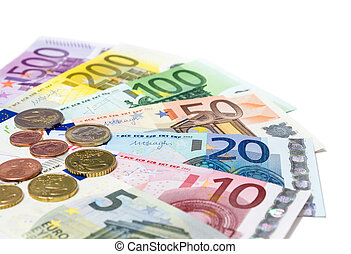 banknotes, monety, euro, biały