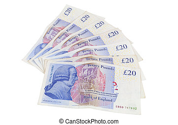 Banknotes of 20 english pounds