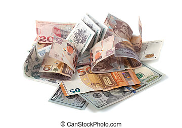 banknotes of different countries, dollar, euro, lari