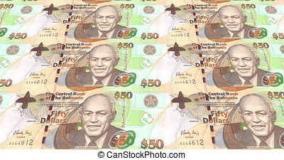 Banknotes of fifty bahamians dollars rolling on screen, cash money, loop