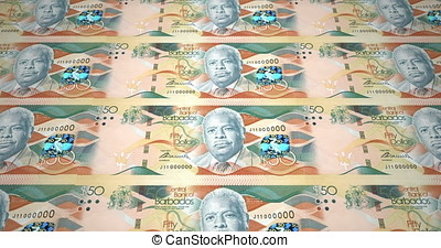 Banknotes of fifty dollars of Barbados island rolling, cash money, loop