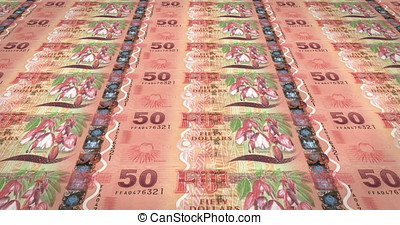 Banknotes of fifty fijian dollars of Fiji rolling, cash money, loop