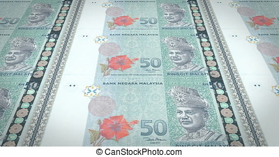 Banknotes of fifty malaysian ringgit of Malaysia, cash money, loop
