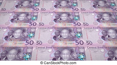 Banknotes of fifty maloti or lotis of Lesotho rolling, cash...