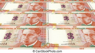 Banknotes of fifty peruvian soles of Peru, cash money, loop...