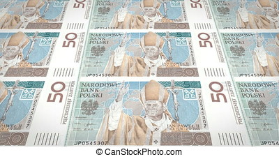 Banknotes of fifty polish zlotys of Poland rolling, cash...