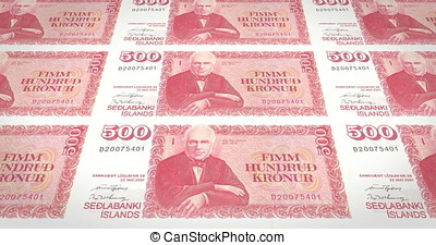 Banknotes of five hundred kroner or crowns of iceland rolling, cash money