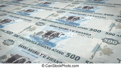 Banknotes of five hundred Rwandan francs of Rwanda, cash...