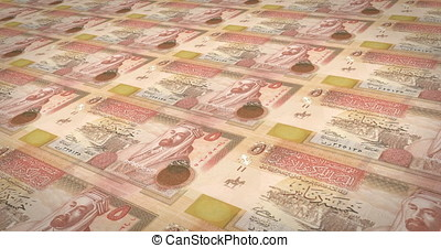Banknotes of five jordanian dinars of Jordan rolling, cash...