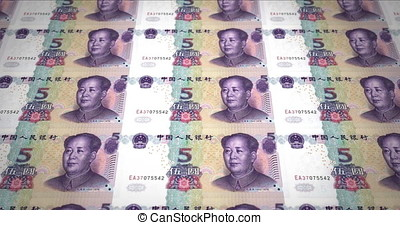 Banknotes of five renminbi chinese rolling on screen, cash money, loop