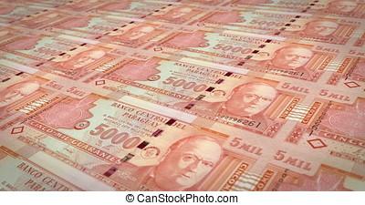 Banknotes of five thousand paraguayan guarani of Paraguay,...
