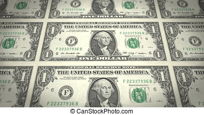 Banknotes of one dollar passing on screen, cash money, loop