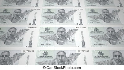 Banknotes of one Georgian lari of the Republic of Georgia,...