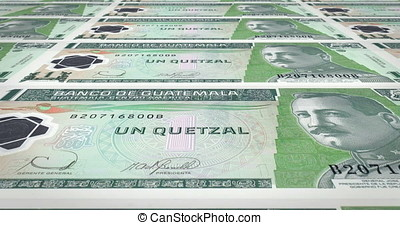 Banknotes of one guatemalan quetzal of Guatemala rolling,...