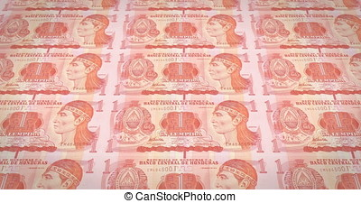 Banknotes of one honduran lempira of Honduras rolling, cash...