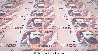 Banknotes of one hundred albanian lek of Albany rolling, cash money, loop