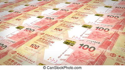 Banknotes of one hundred dollars of Hong Kong rolling, cash...