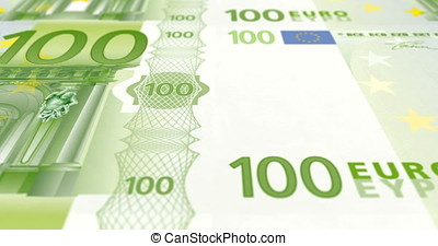 Banknotes of one hundred euros on print rolling on screen, cash money, loop