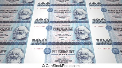 Banknotes of one hundred german marks of the old German...