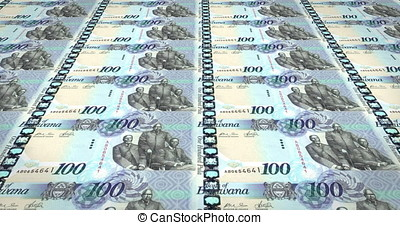 Banknotes of one hundred pulas of Botswana, cash money, loop