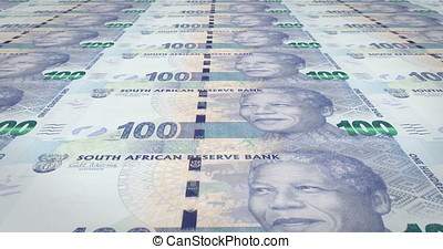 Banknotes of one hundred South African rands of South...