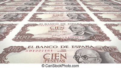 Banknotes of one hundred spanish pesetas of Spain, cash...