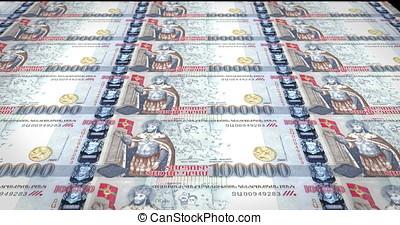 Banknotes of one hundred thousand armenian drams of Armenia...