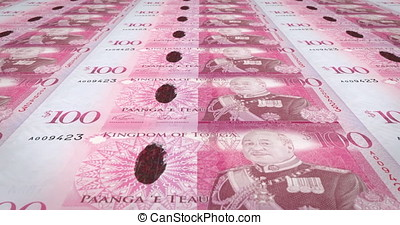 Banknotes of one hundred Tongan pa'anga of Tonga, cash...
