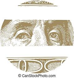 Banknotes of one hundred U.S. dollars. Vector illustration